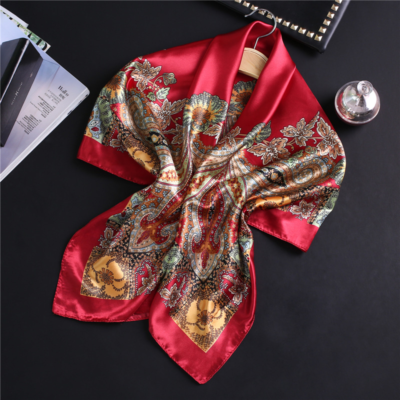 Fashion Silk Satin Hair Scarf For Women Square Shawls Print Kerchief Hijab Scarfs Female 90*90cm Bandana Head Scarves For Ladies