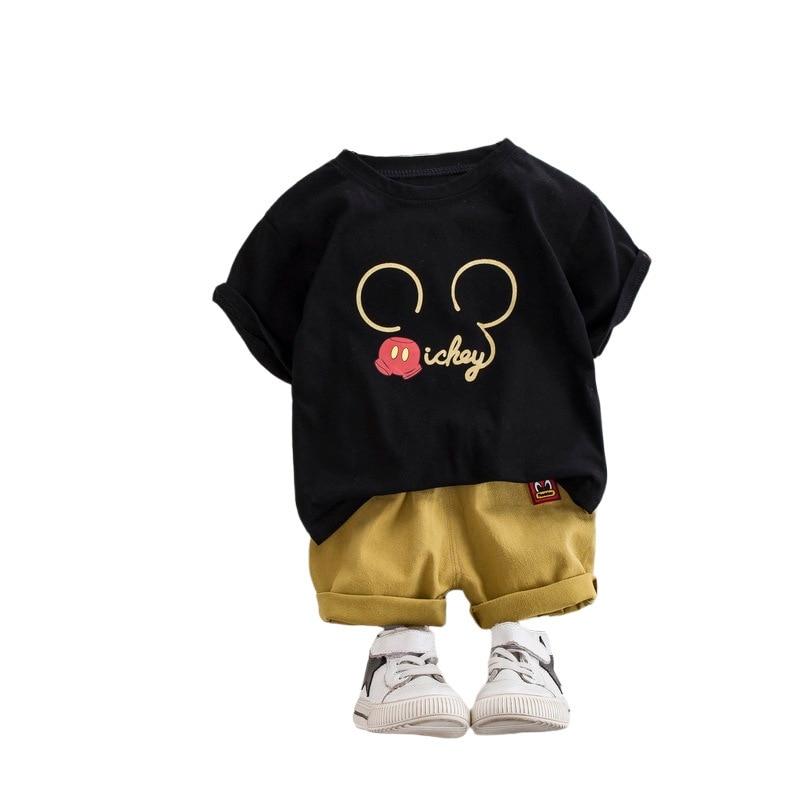 Summer Kids Sets Boy Girl Clothes Sets Cartoon Print Tops + Shorts 2 Pcs Suits Toddler Kids Clothes Kids Cotton Comfortable Sets