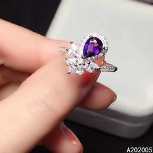 KJJEAXCMY fine jewelry 925 sterling silver inlaid Amethyst gemstone new Female adjustable ring elegant hot selling