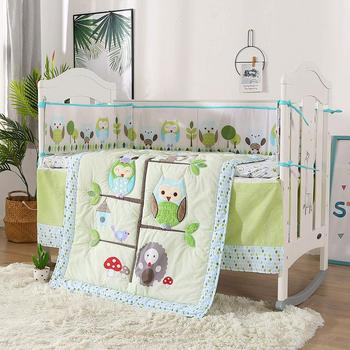 7pcs Embroidery Owl Baby Cot Crib Bedding Set Baby Crib Set cama bebe (4bumpers+duvet+bed cover+bed skirt)