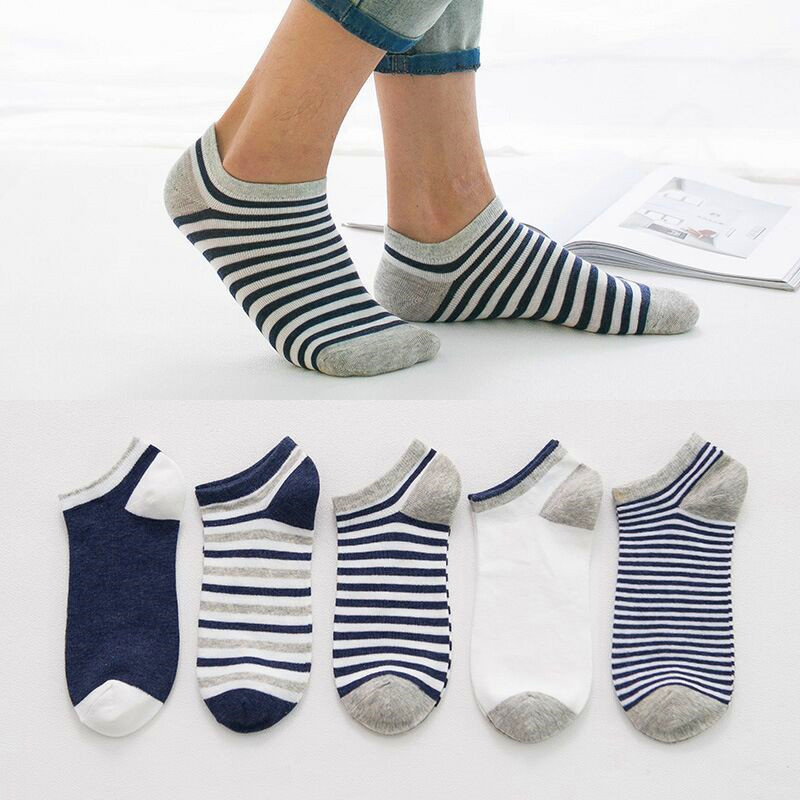 5 Pairs/lot Unisex Men Sock Patchwork Solid Striped Cotton Ankle Sock Spring Summer Casual Male Funny Sock Meias Calcetines