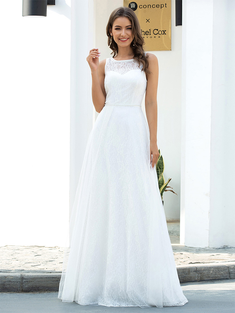 Wedding-Dresses Bride-Gowns Ever Pretty Illusion Elegant Lace Sleeveless O-Neck Formal