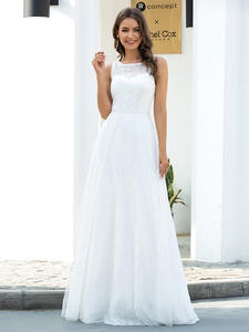 Wedding-Dresses Bride-Gowns Ever Pretty A-Line Illusion Lace Vestido-De-Noiva Formal