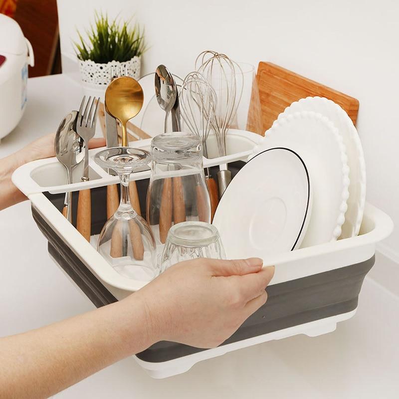 Foldable Dish Rack Kitchen Storage Holder Drainer Tableware Plate Portable Drying Rack Home Shelf Dinnerware Organizer Pf9169