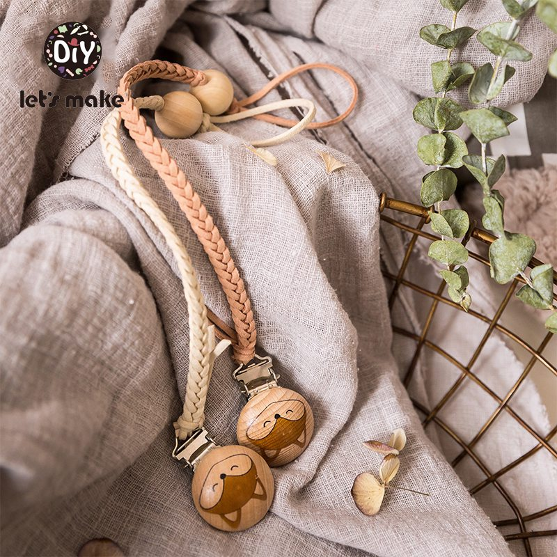 Fermier attache-tétine en bois Let | Pour alimentation, tissage métallique, torsion sans BPA Fox, mamelons pour bébés, perles en bois, Clips de sucette 1 pièce