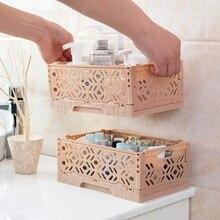 Stackable Desktop Storage Basket Sundries Box Foldable Home Organizer