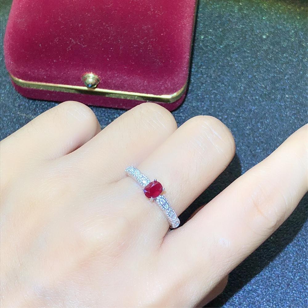 925 argent incrusté naturel pigeon sang rouge rubis anneau se réfère à la taille de la bague réglable pierre principale taille 4*5mm 925 bague en argent - 6