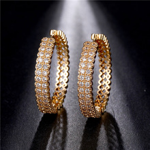 Luxury Gold Plated Zircon Hoop Earrings White Crystal Circle Earrings Bridal Charm Wedding Engagement Party Women Jewelry
