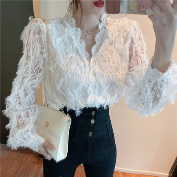 women tops White Shirts blusa V-neck Long Sleeve Lace Hollow out Lace top camisas mujer Blouses Shirts kimono Lace Flowers 560H lace panel kimono sleeve tee