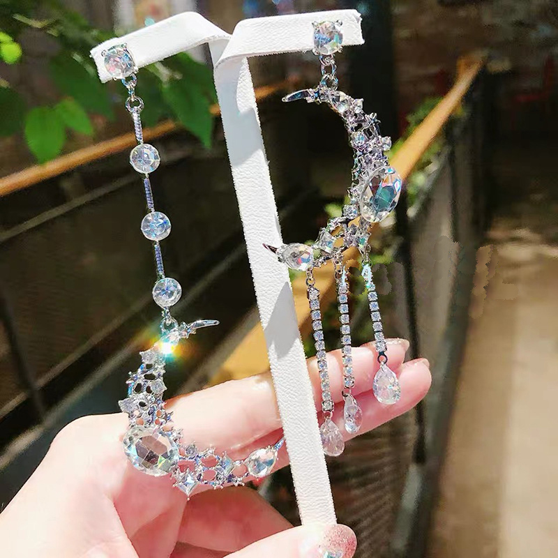 MWsonya New Korean Shining Crystal Moon Asymmetric Pendant Earring Elegant for Women Fashion Earring Jewelry Accessories Gift