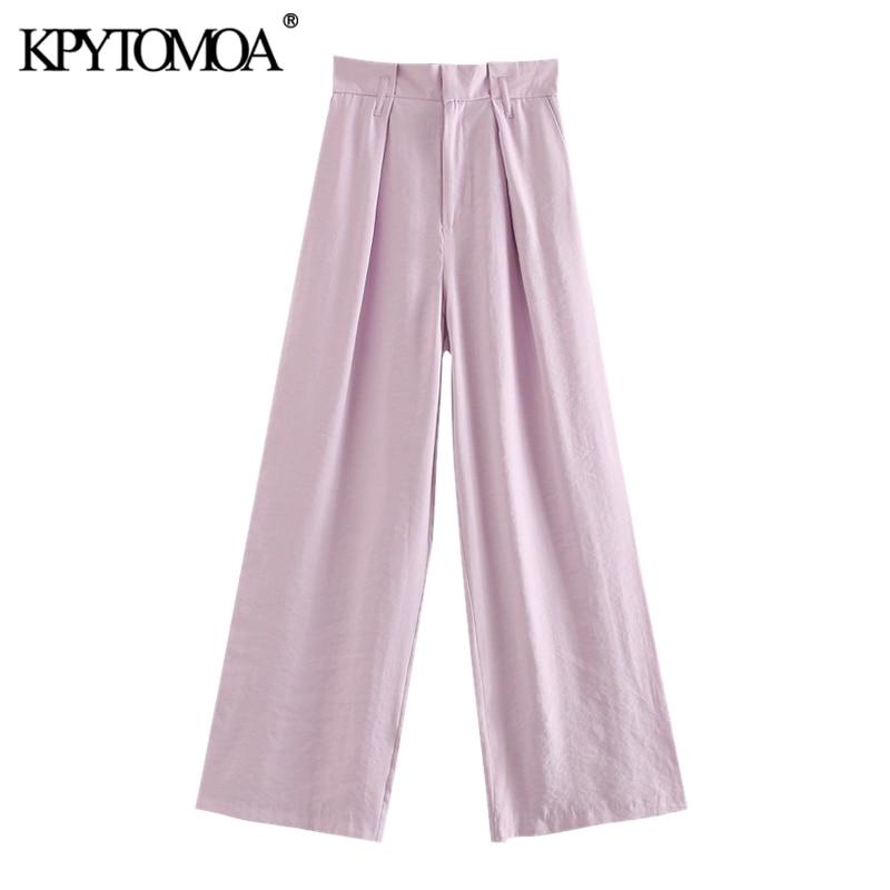 KPYTOMOA Women 2020 Chic Fashion Pleated Wide Leg Pants Vintage High Waist Zipper Fly Pockets Female Trousers Pantalones Mujer