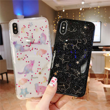 Cat Space Planet Star Phone Case Shining Glitter Shell for Iphone X XS Max 7 6S 8 6Plus Transparent Soft Silicon Back Cover