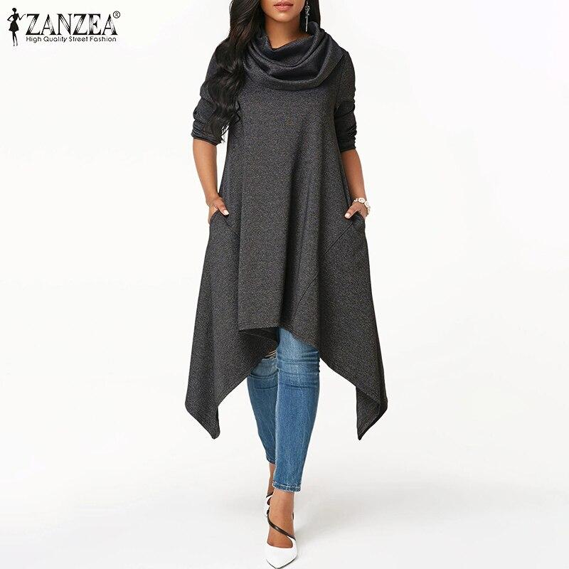 ZANZEA Women Sweatshirt Vintage Turtleneck Hoodies Sweatshirts Plus Size Ladies Asymmetric Hoodie Pockets Long Sudadera Mujer