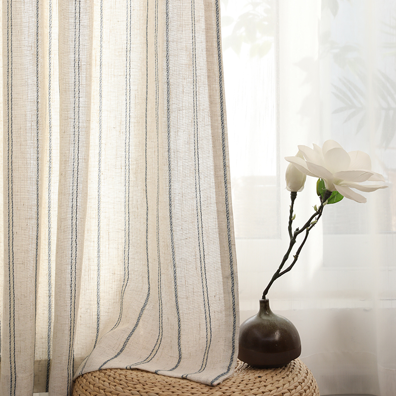 Linen cotton stripe curtain For Living Room Linen bedroom curtain Window Drapes For Bedroom Kitchen curtains kids curtains