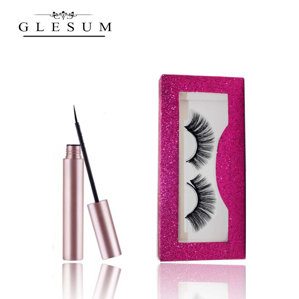 Glesum Magnet <font><b>Eyelash</b></font> <font><b>Magnetic</b></font> Liquid <font><b>Eyeliner</b></font> & <font><b>Magnetic</b></font> False <font><b>Eyelashes</b></font> <font><b>Set</b></font> Waterproof Long Lasting <font><b>Eyelash</b></font> image