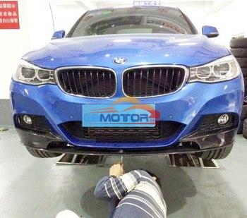 P Style Real Carbon Fiber Front Lip Spoiler Splitters 3pcs For BMW F34 GT Gran Turismo M-Sport Bumper 2014UP B184+B185 1