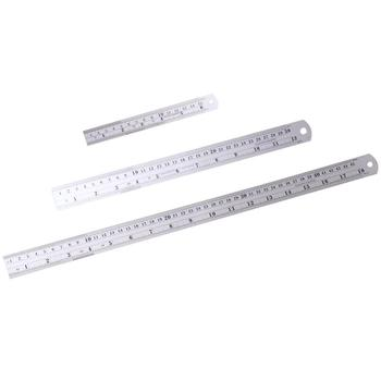 3Pcs Double Scale Stainless Steel Straight Ruler Britain Standard Ruler For Student Silver(1Pc 15cm + 1Pc 30cm + 1Pc 45cm)