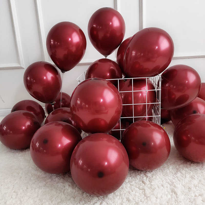 10pcs Double Layer Balloon Glossy Metallic Red Purple Blue Pearl Latex Balloons Chrome Balloons Globos Wedding Party Decoration