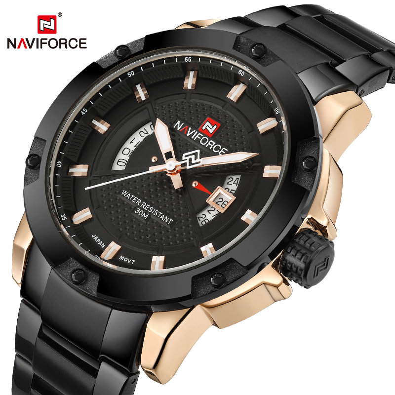 Men Watches Top Luxury Brand NAVIFORCE Men Full Steel Watches Quartz Watch Analog Waterproof Sports Army Military WristWatch|Quartz Watches| |  - title=