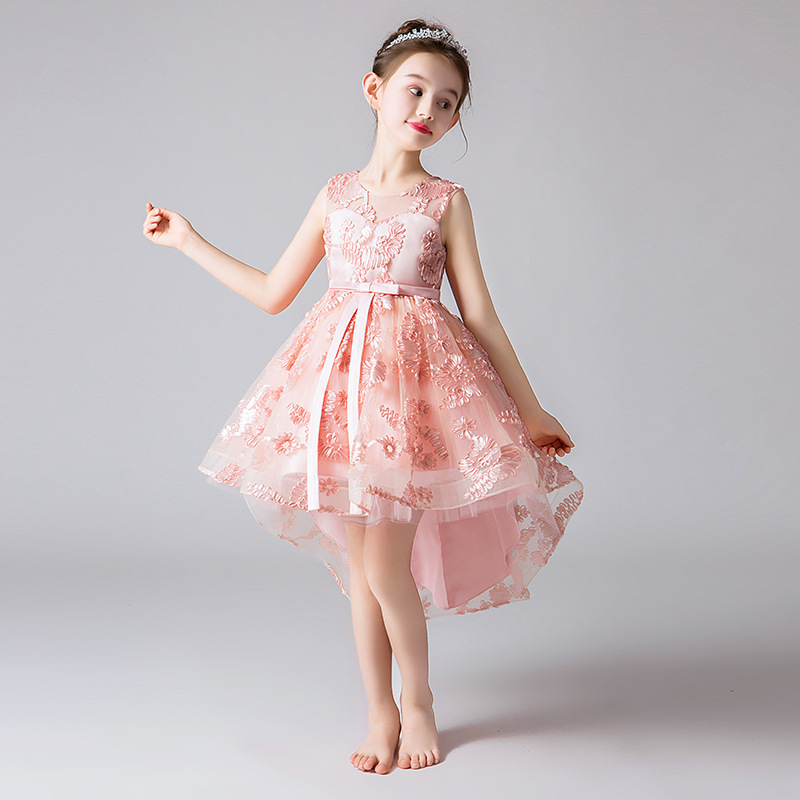 it's YiiYa   Flower     Girl     Dress   for Wedding Pleating   Flower   High Low Tank Ball Gown Kid Party Communion   Dress   3 Colors 2019 TW2964