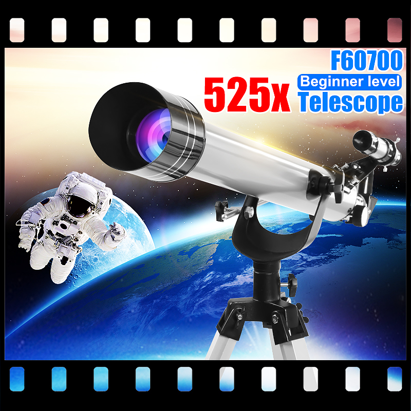 SGODDE F60700 525x High Magnification Astronomical Refractive Telescope 3Pcs Eyepieces And Tripod Space Observation Scope Gift