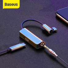 Baseus L53 USB C إلى 3.5 مللي متر aux محول الصوت usb نوع c تمديد كابل مع PD 18 واط شحن سريع ل سامسونج ForHuawei