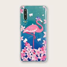Прозрачный чехол для телефона huawei с цветком и фламинго p20
