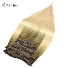 HiArt 220g קליפ שיער הרחבות 6pc כפול נמשך רמי שיער קליפ שיער טבעי הרחבות Balayage מלא ראש שיער מראש מלוכדות