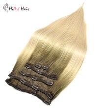 HiArt 220g Clip Haar Extensions 6pc Doppel Gezogen Remy Haar Clip In Menschliches Haar Extensions Balayage Vollen Kopf haar Vor Verbundene