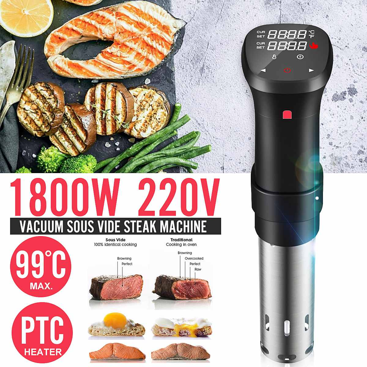 1800W Digital Sous Vide Culinary Cooker Accurate Immersion Circulator Timer 220V