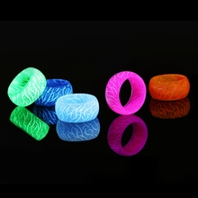 Fashion Luminous Resin Ring Blue Pink Glow Inlay Green Background Men Women Fluorescent Glowing Rings Jewelry Gifts-in Rings from Jewelry & Accessories on AliExpress