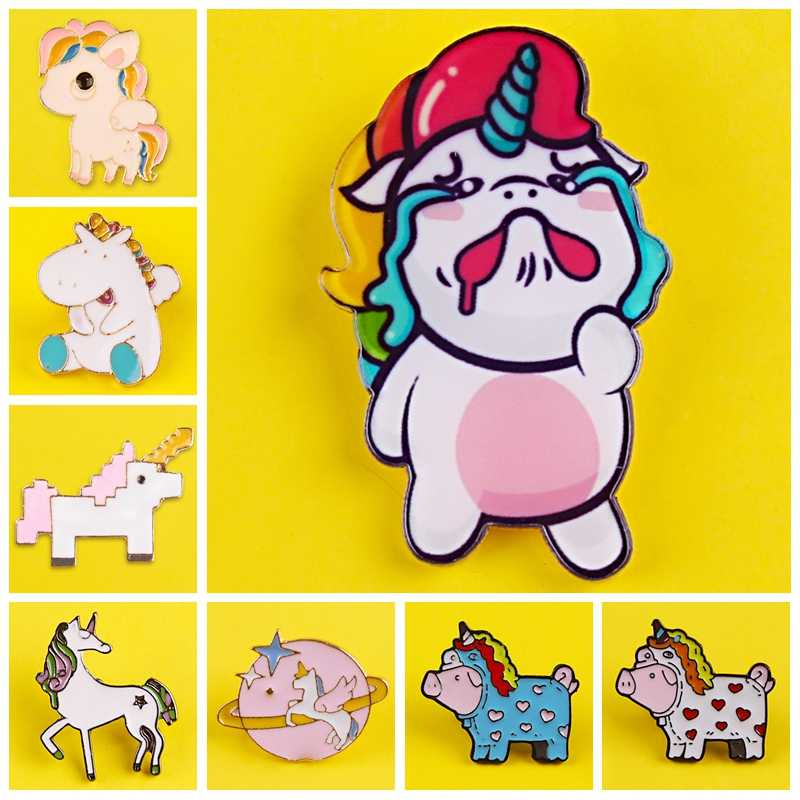 Enamel Pin Lovely Unicorn Pattern Metal Badges Pins and Brooches for Women Men Lapel pin Creative Gift backpack bag badge