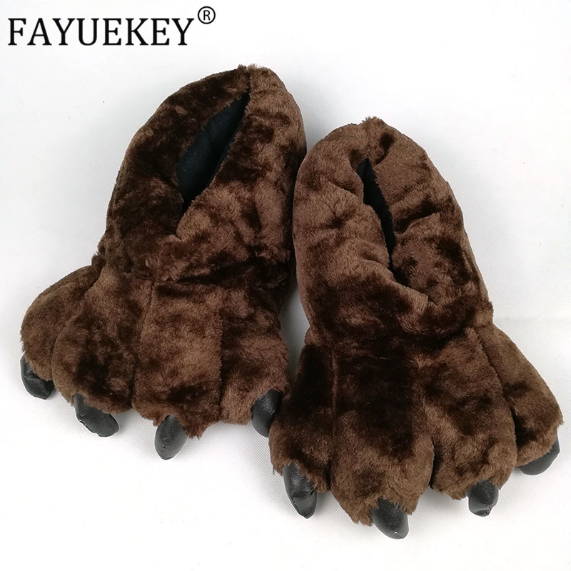 FAYUEKEY 2020 Spring Winter Home Warm Paw Plush Slippers Thermal Cotton Soft Funny Animal Christmas Claw Slippers Bedroom Shoes