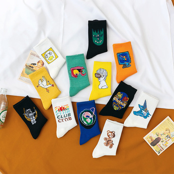 Funny long socks for women and men great quality cotton happy white sock Creative pattern fashionable stocking fashionable color block and leaf pattern design satchel for women