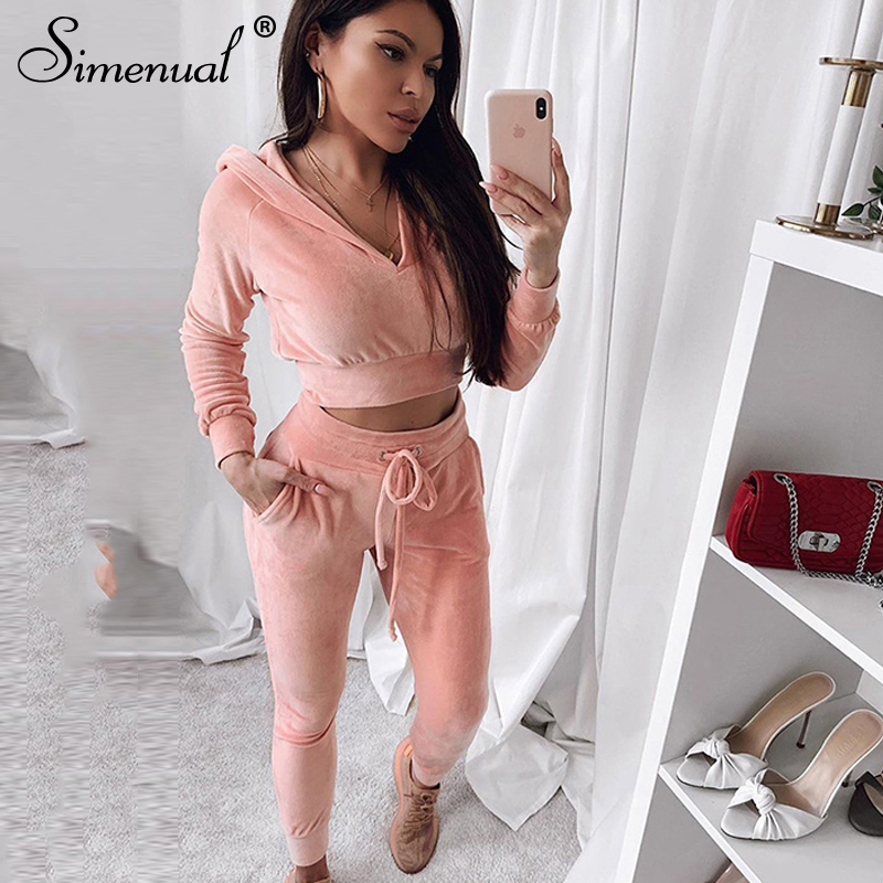 Simenual Casual Sporty Velvet Two Piece Set Women Workout Active Wear Fashion Outfits Slim Long SLeeve Hooded Top And Pants Sets