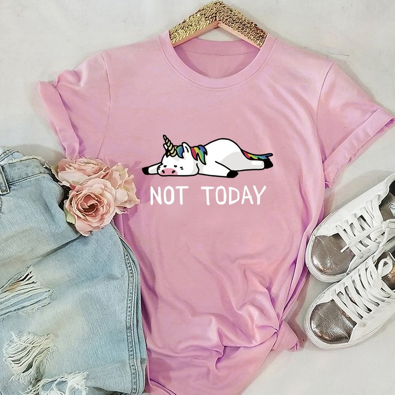 NOT TODAY Unicorn Printed 100% Cotton Short-sleeved Women's T-shirt Casual Soft Female T shirt Women Plus Size Top(China)