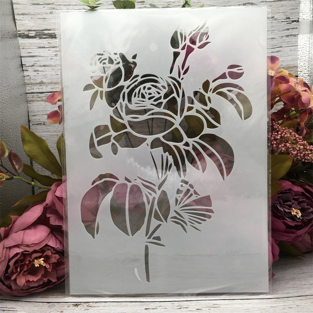 29*21cm A4 Big Rose Flower DIY Layering Stencils Wall Painting Scrapbook Coloring Embossing Album Decorative Template