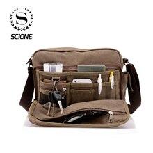 Купить с кэшбэком Scione Canvas Multifunction Messenger Shoulder Bag Solid Briefcases Suitcase Card Pocket For Men Women Office Outdoor Travel Bag