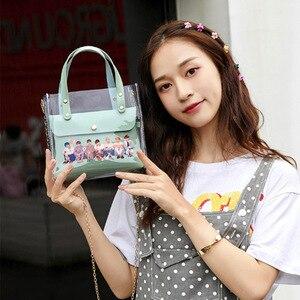 Kpop Bangtan сумка на одно плечо JIN SUGA J HOPE JIMIN V JUNGKOOK прозрачная ПУ Наклонная Сумка на плечо сумка-мессенджер на цепочке