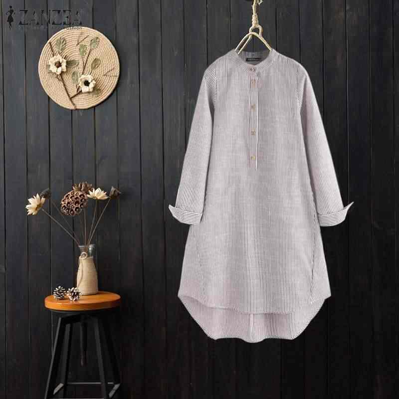 Blusas 2019 zanzea camisa de linho de algodão casual feminina moda feminina listrado túnica topos blusa gola chemiser mujer 7