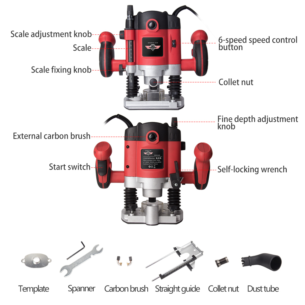 1050W/1500W/2100W Woodworking Electric Router trimmer Wood Milling Engraving Slotting Trimming machine Hand Carving Carpentry - 3