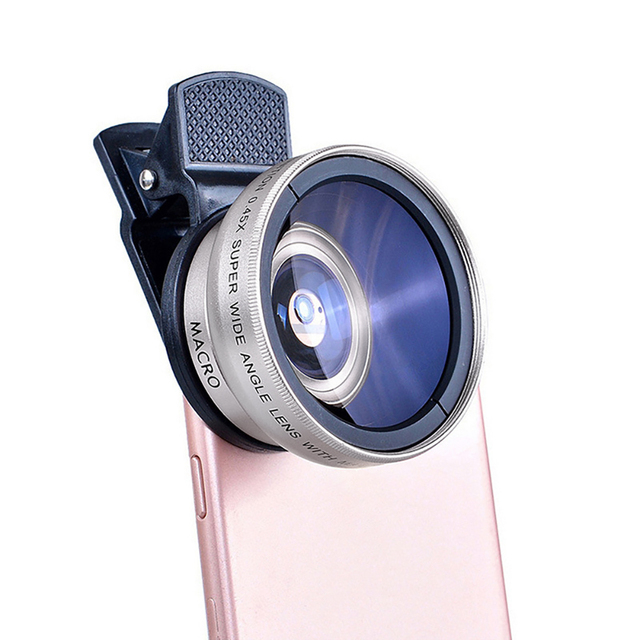 2 IN 1 Lens Universal Clip 37mm Mobile Phone Lens Professional 0.45x 49uv Super Wide-Angle + Macro HD Lens For iPhone Android 6