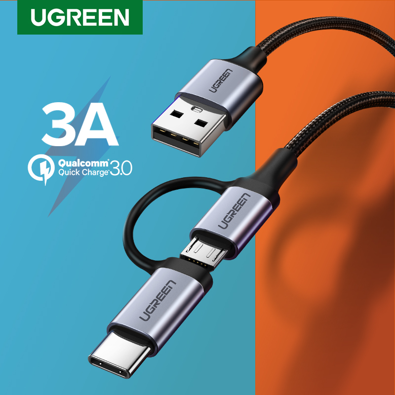 Ugreen USB Type C Cable for Samsung Galaxy S10 S9 2 in 1 Fast Micro USB Cable Charging Data Cable Moble Phone USB Charger Cord|cable 2.4a|cable for|cable for samsung - AliExpress