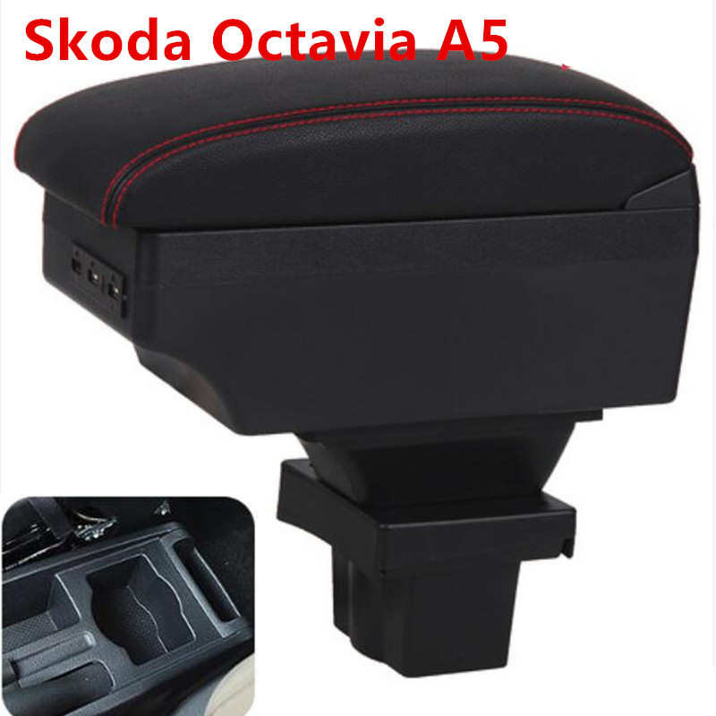 For Skoda Yeti Octavia A5 Armrest Box Central Store Content Box Storage Case USB Interface Decoration Accessories