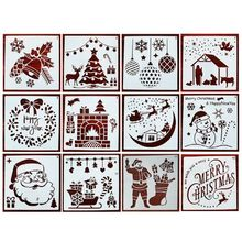 12 Pieces Christmas Stencils Template Reusable Plastic Craft for Art Drawing Pai B95C