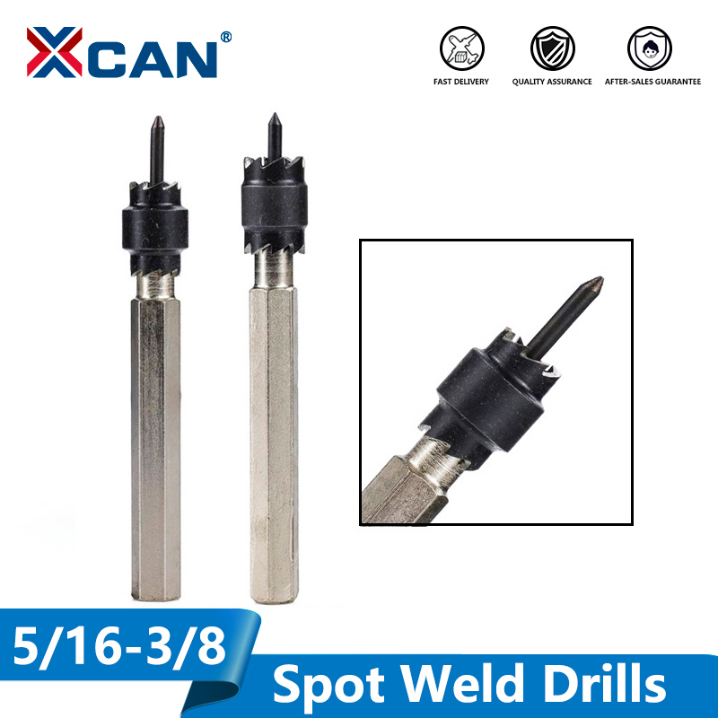 XCAN Spot Weld Drill Bit Cutter Double Side Carbide Tipped Stainless Metal Hole Drill Center Drill Bit 3/8''5/16''