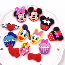 1Pcs Label Pins Mickey Donald Minnie Badges Kids Woman Backpack Superman Logo Cupcakes PVC Brooches Girls Birthday Cosplay Gift(China)