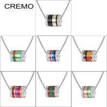 Cremo Stackable Necklaces Crystal Pendant Chain Necklace Women Spinner Original Stainless Steel Charm