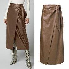 ZANZEA Women's PU Leather 2020 Stylish Button Skirts High Waist Split Lace-Up Midi Skirts Female Solid Robe Oversized Vestidos