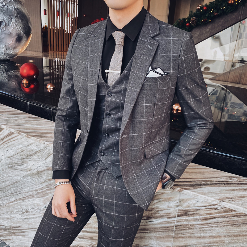 Jacket+Pant+Vest Suits Men 2020 Spring New Casual Plaid Wedding Suits For Men Slim Fit Business Formal Wear Tuxedo Plus Size 4XL